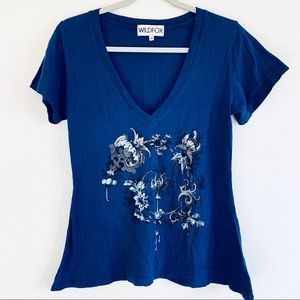 Wildfox Blue V Neck Floral Graphic Tee T-shirt
